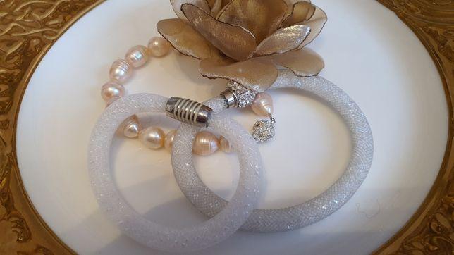 Bransoletki zestaw 3szt perły