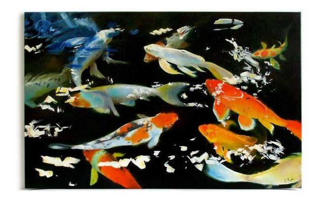 Картина маслом японские карпы кои, картина рыбы