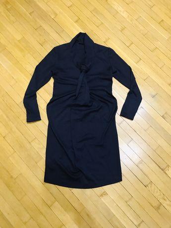 Платье для беременных индивидуального кроя теплое, темно-синее