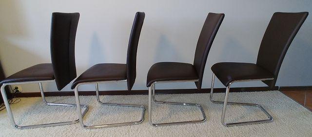 Krzesła skóra chrom nowoczesne płoza 4 sztuki