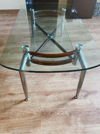 Ława szklana/stolik kawowy z półka pod blatem