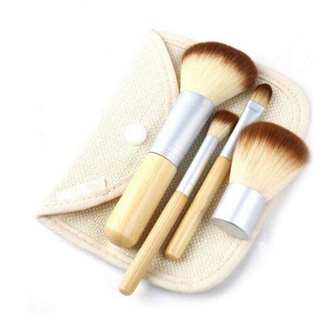 Набор бамбуковых кистей для макияжа 4 шт.