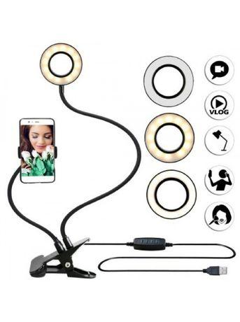Кольцевая LED лампа 9 см + Держатель для смартфона 3 режима для селфи