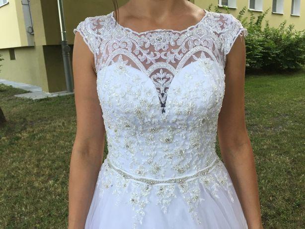 suknia ślubna Afrodyta + halka + 2 welony (krótki i długi)