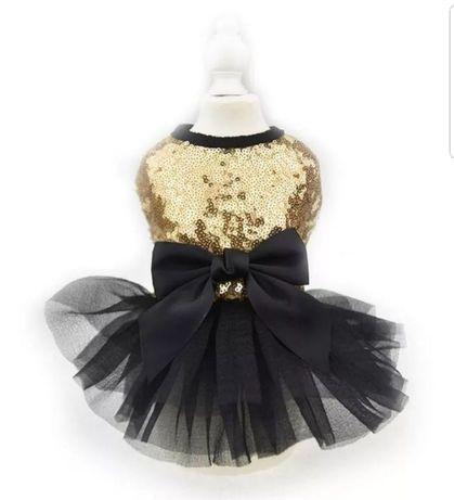 Nowa złoto czarna sukienka dla pieska M. W cekiny, z kokardką.