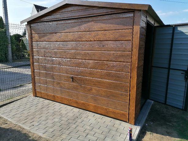 3x5 garaż blaszany drewnopodobny orzech lub złoty dąb, dach dwuspadowy