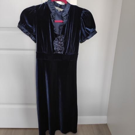 Rocha John Rocha Vintage welurowa sukienka z aksamitem S