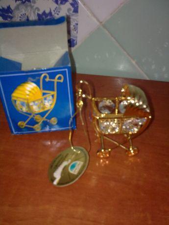 сувенир детская колясочка с кристаллами Сваровски