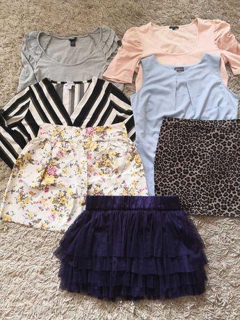 Zestaw ubrań damskich 7 sztuk bluzki spódniczki H&M S M