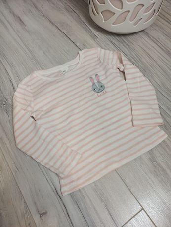 Prążkowana bluzka dziewczęca H&M rozmiar 92