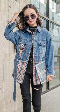 Весенняя джинсовая куртка ветровка комбинированная клеткой р. 130-160