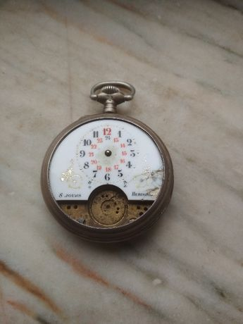 Relógio de bolso antigo Hebdomas 8 jours