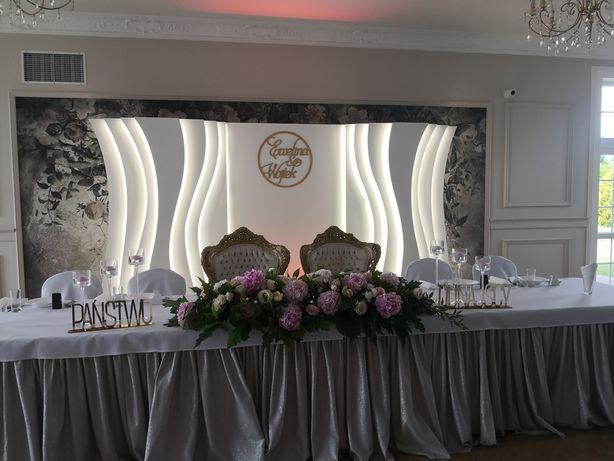 Ścianka weselna, pokaz pirotechniczny, love, miłość dekoracja światłem