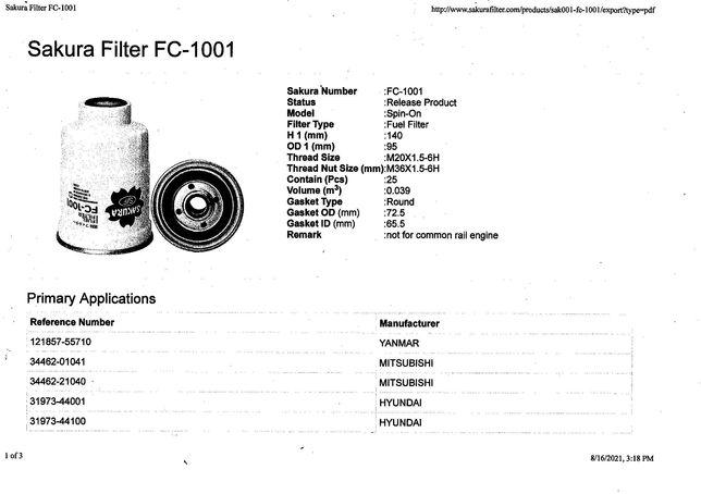 Yanmar, Mitsubishi, Isuzu gasoil filter