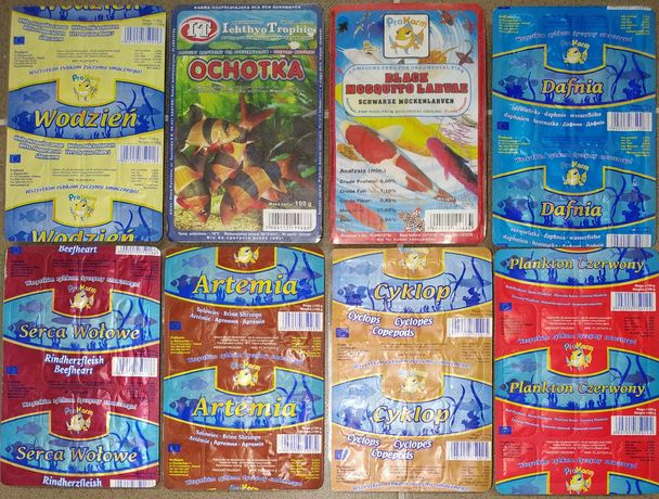 Pokarm mrożony dla ryb i żółwi w blistrach 100g - różne rodzaje