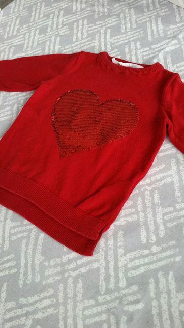 Sweterek H&M czerwony, cekiny, 92 ( 1,5 - 2 lata)
