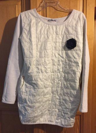 Kremowa bluza pikowana z kieszeniami/ tunika