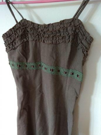 Cudowna sukienka len + bawełna