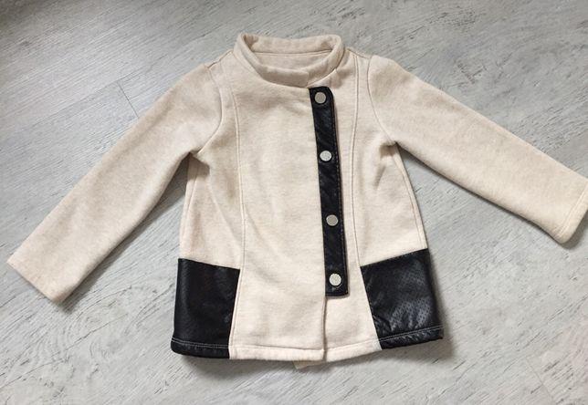 Wiosenny płaszcz płaszczyk bawełniany 92 cm kurteczka kurtka bluza
