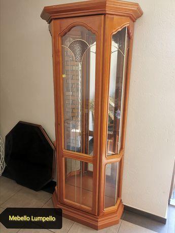 Wysoka szklana przeszklona witryna drewniana słupek na porcelanę
