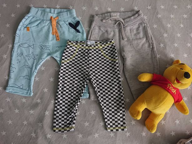 Spodnie, dresy, leginsy. zestaw 3szt. rozm.74, 51015,H&M. Jak nowe