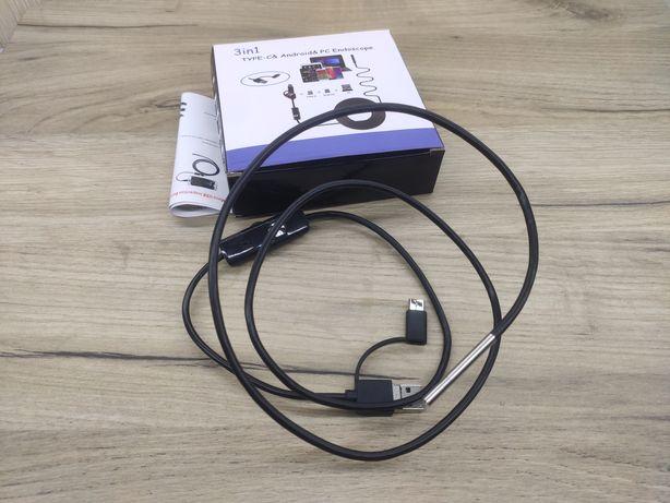 Эндоскоп, мини камера 3,9мм USB, microUSB, Type C
