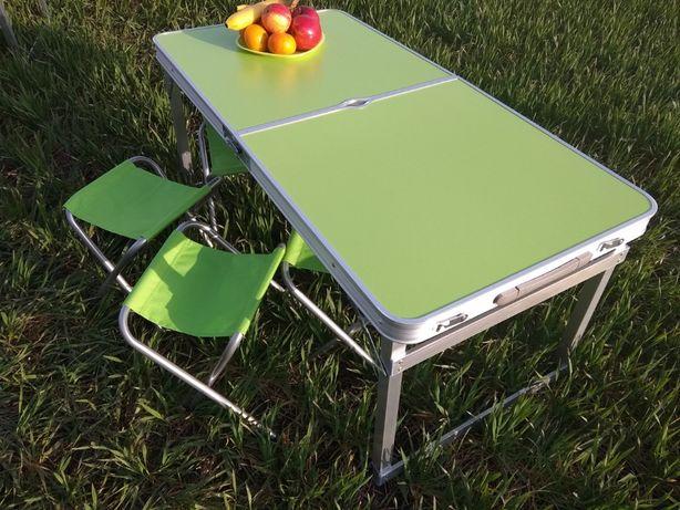Усиленный раскладной стол для пикника с 4 стульями, РАЗНЫЕ ЦВЕТА