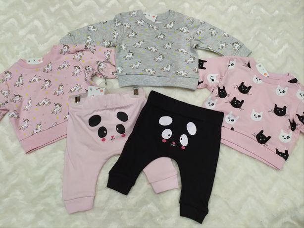 Nowy zestaw dla dziewczynki 56 i 62. 3 bluzy i 2 pary spodni