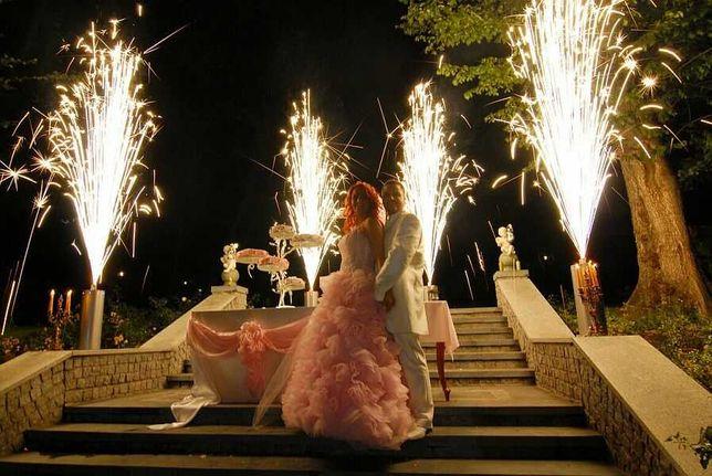 Pokaz sztucznych ognii, fajerwerki na wesele, serce z imionami,lasery.