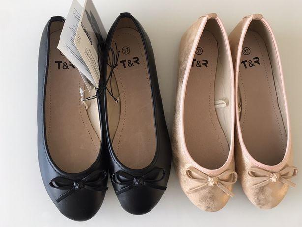 Baleriny balerinki Tom & Rose 2 pary czarne złote nowe 37