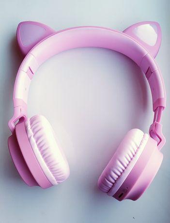 Наушники с ушами подарок на новый год рождество розового цвета