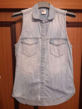 Koszula jeansowa bez rękawów H&M 36 S denim tie dye