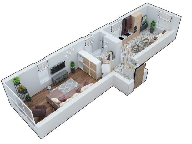 Двусторонняя 1к-квартира 52,4 с большой кухней, ЖК Марсель