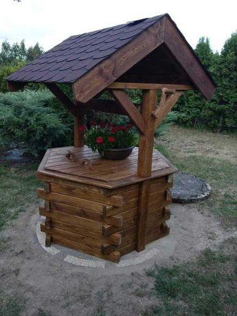 Studnia ogrodowa drewniana,zabudowa