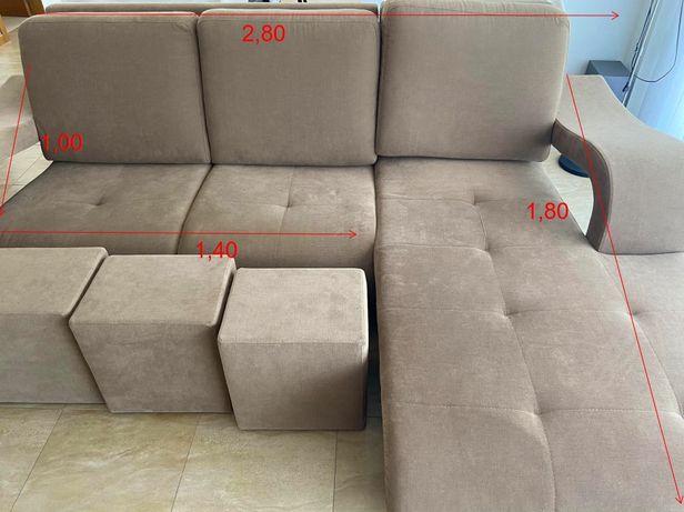 Sofa chaise longue + 4 bancos