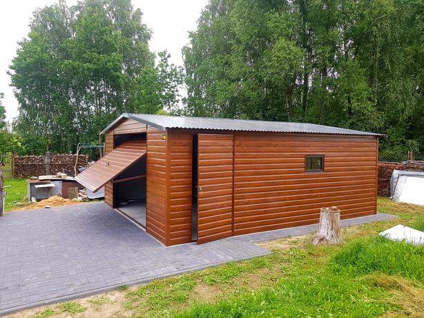 Garaże blaszane imitacja drewna od PRODUCENTA