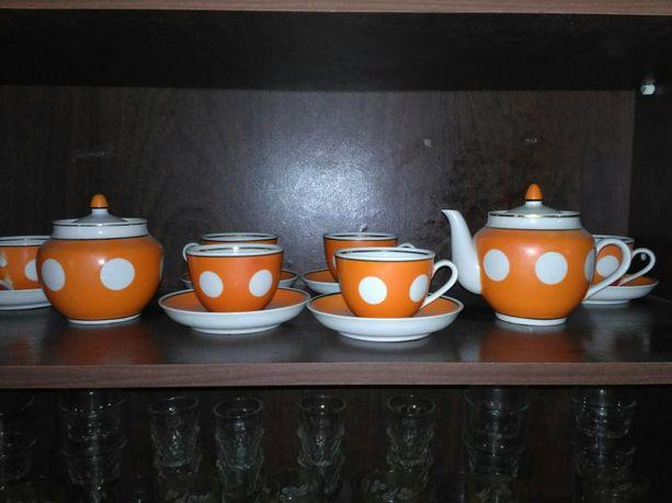 Сервиз чайный кофейный в горошек ссср советский