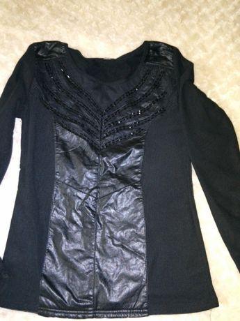Elegancka czarna bluzka łączona ze skórką rozm.uniwersalny 36-40