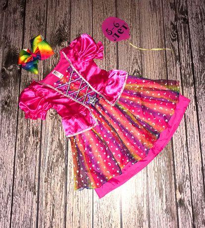 Новогоднее платье с бантиком-заколкой для девочки 5-6 лет, 110-116 см