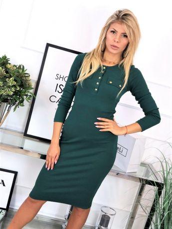 Sukienka prążęk, producent La Le Li, zielona, od S do L