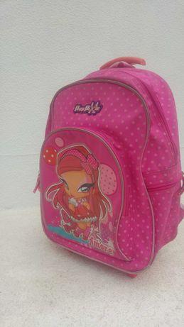 Mochila escolar rosa Pop Pixie Amore com rodas