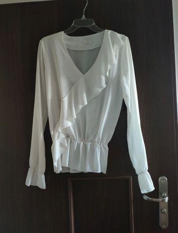Piękna bluzka koszula biała falbanki