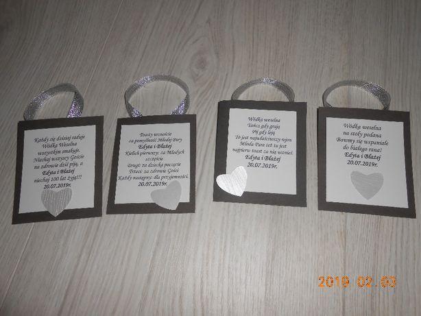 Zawieszki na alkohol ręcznie robione zaproszenia ślubne i inne
