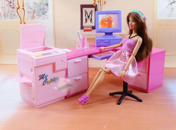 Gabinet dla lalki Barbie biuro laptop