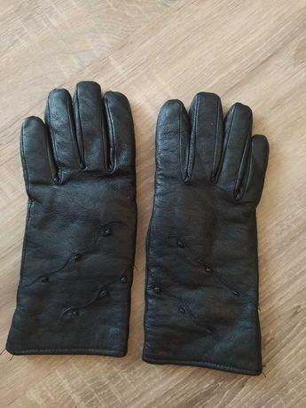 Кожаные утеплённые перчатки