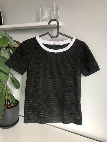 Elegancka bluzka koszulka koronkowa Zara S czarna biała basic