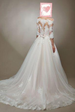 Свадебное платье пудра А-силуэт