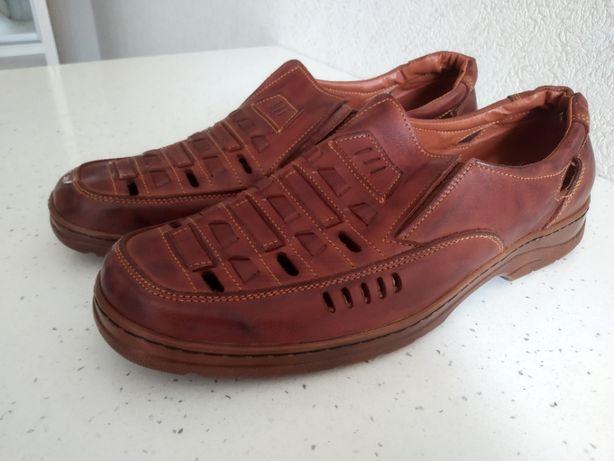Кожаные летние туфли 45р.