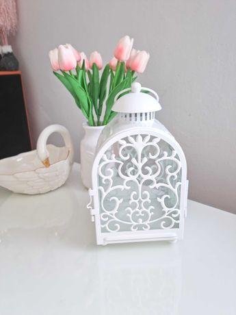 Latarenka lampion świecznik Ażurowy Biały