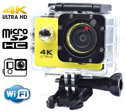 Экшн камера 4K wi-fi +Пульт Видеорегистратор+ Аквабокс +крепления анал
